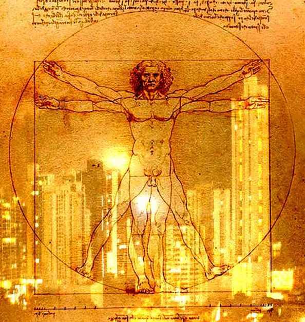 Hombre Vitruviano de Da Vinci con fondo ciudad