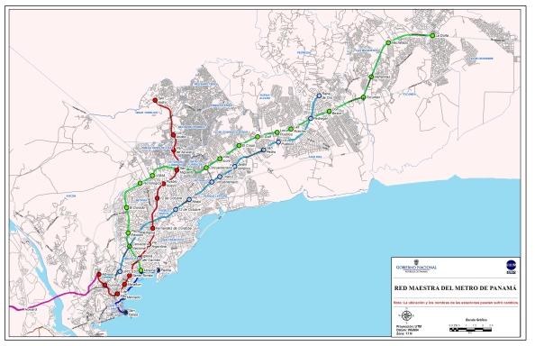 Línea 1 y futuras líneas previstas por la Secretaría del Metro de Panamá (SMP).