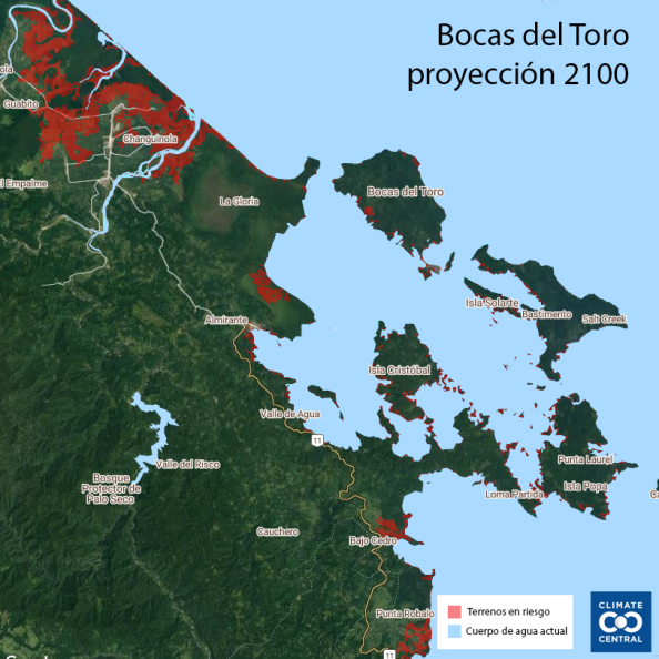 Bocas del toro escenario pesimista 2100 Climate Central