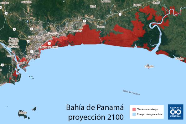 Área metropolitana escenario pesimista 2100 Climate Central